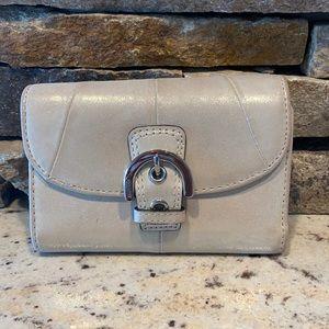 Coach shimmery tan buckle wallet